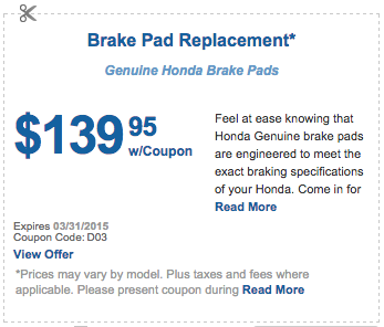 brake pad replacement coupon san antonio
